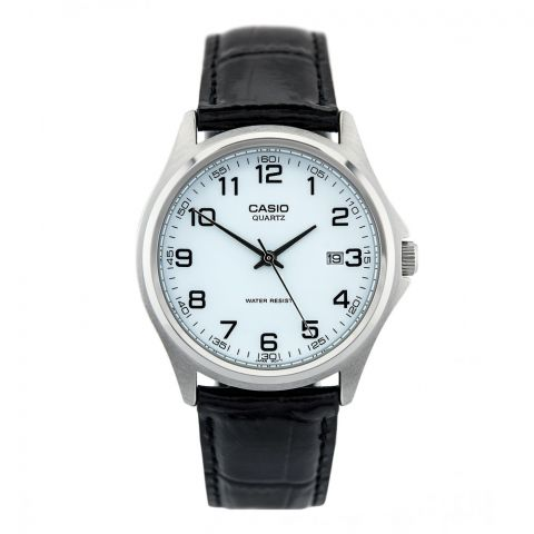 Casio Enticer Men's White Dial Black Leather Strap Watch, MTP-1183E-7BDF