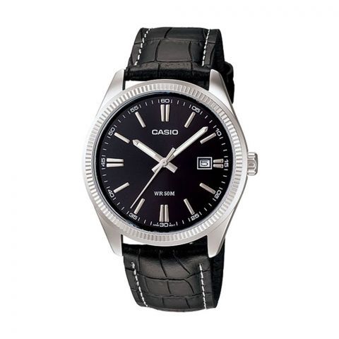 Casio Men's Enticer Analog Black Dial Watch, Leather Strap, MTP-1302L-1AVDF