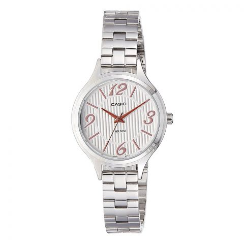 Casio Enticer Women's White Dial Stainless Steel Watch, LTP-1393D-7A2VDF