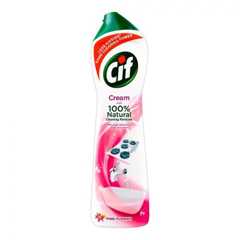 Cif Cream, Pink Flower, With 100% Natural Cleaning Particles, 500ml