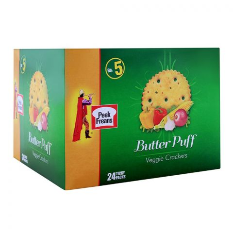 Peek Freans Butter Puff Veggie Biscuit, 24 Ticky Packs