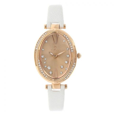 Titan Analog Rose Gold Oval Dial Watch For Women, 95025WL01