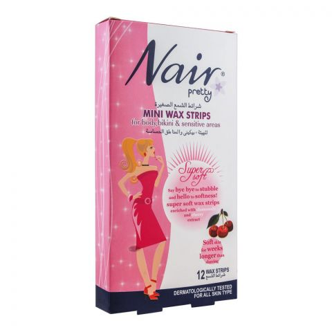 Nair Pretty Mini Wax Strips, For Body, Bikini & Sensitive Areas, With Chamomile & Cherry Extract, 12-Pack