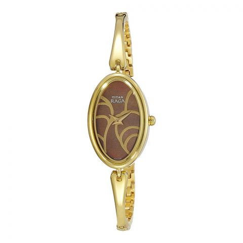 Titan Analog Brown/Golden Round Dial Metal Strap Watch For Women, 2527YM01
