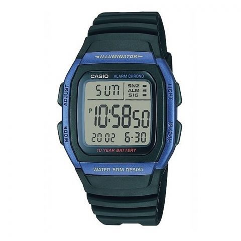 Casio Youth Illuminator Black/Blue Digital Alarm Chronograph Men's Watch, Resin Strap, W-96H-2AVDF