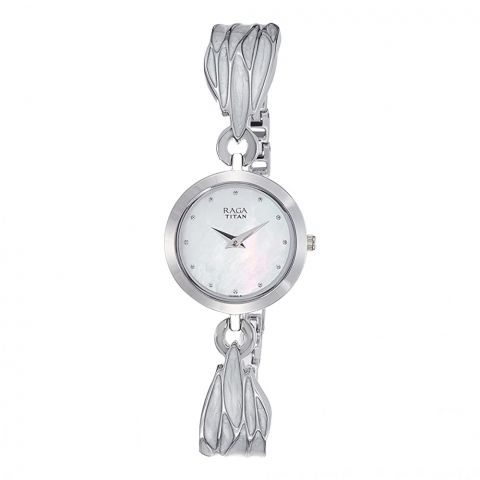 Titan Analog Mother of Pearl Round Dial Metal Strap Watch For Women, 2540SM02