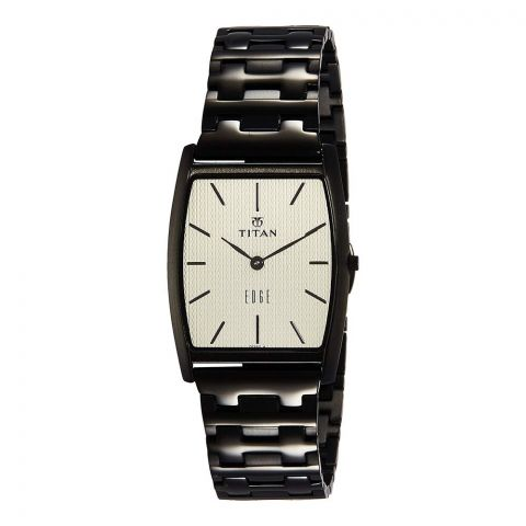 Titan Edge Slim Champagne Tonneau Dial Analog Stainless Steel Men's Watch, 1044NM02