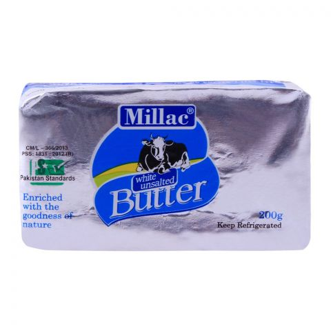 Millac White Unsalted Butter 200g