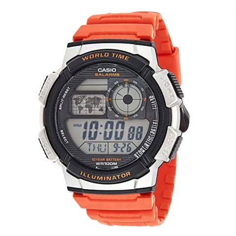 Casio Youth Orange Illuminator 5 Alarms Digital Men's Watch, AE-1000W-4BVDF