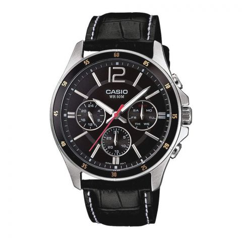 Casio Enticer Chronograph Black Dial Men's Watch, Leather Strap, MTP-1374L-1AVDF