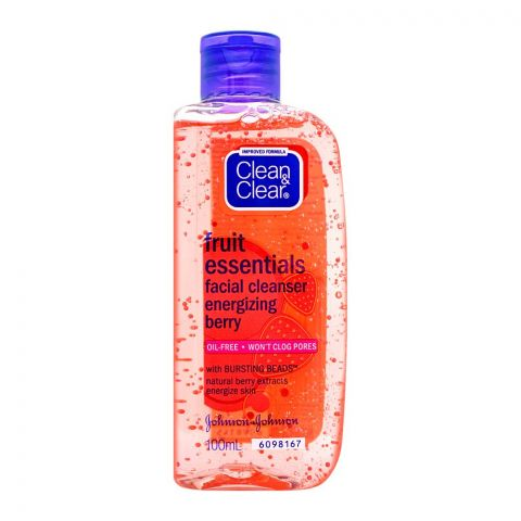 Clean & Clear Fruit Essentials Energizing Berry Facial Cleanser, Oil Free, 100ml