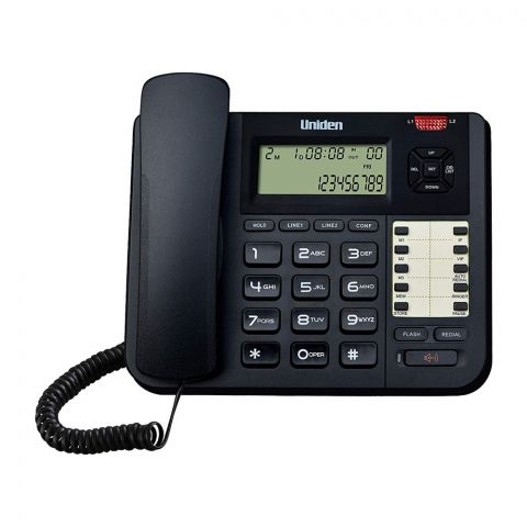 Uniden Caller ID 2 Line Business Speakerphone, Black, AT8502