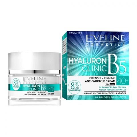 Eveline Hyaluron Clinic B5 40+ Day And Night Anti-Wrinkle Cream, All Skin Types, 50ml