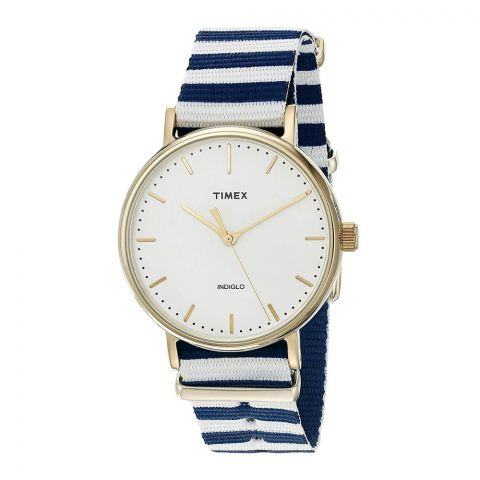 Timex Women's Fairfield 37 Blue/White Nylon Slip-Thru Strap Watch - TW2P91900