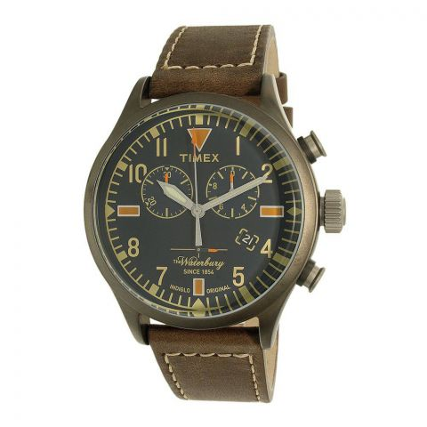 Timex Men's Waterbury Brown Leather Strap Chronograph Watch - TW2P84100