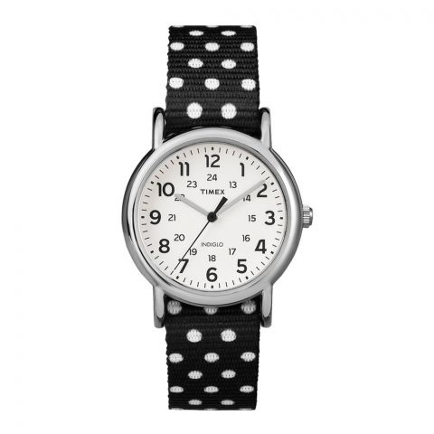 Timex Weekender Women's Watch Polka Dot Reversible Nylon Strap TW2P87100