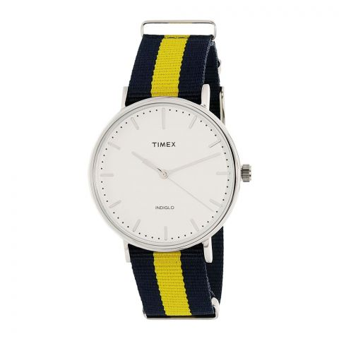 Timex Weekender Fairfield Blue/Yellow Nylon Strap Watch - TW2P90900