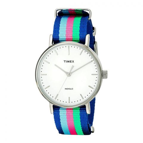 Timex Women's Fairfield Blue/Pink/Green Nylon Strap Watch - TW2P91700
