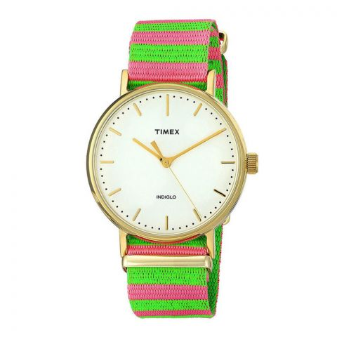 Timex Women's Fairfield Pink/Green Nylon Slip-Thru Strap Watch - TW2P91800