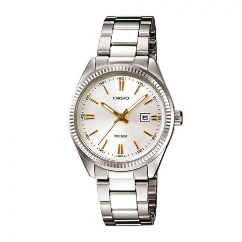 Casio Enticer Women's Silver/Gold Stainless Steel Strap Watch, LTP-1302D-7A2VDF