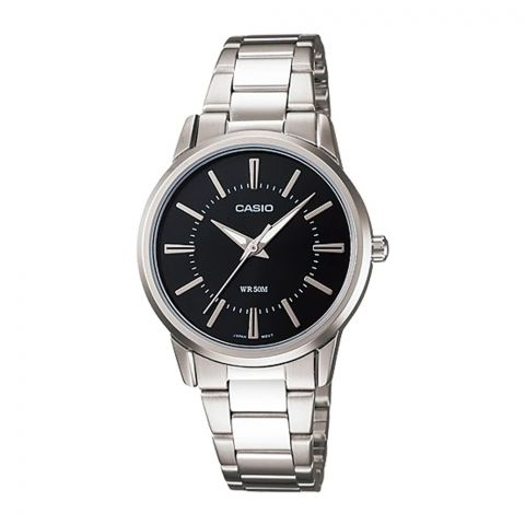 Casio Women's Standard Black Dial Stainless Steel Band Watch, LTP-1303D-1AVDF