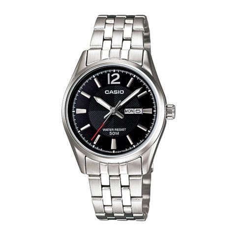 Casio Enticer Women's Analog Black Dial Stainless Steel Watch, LTP-1335D-1AVDF