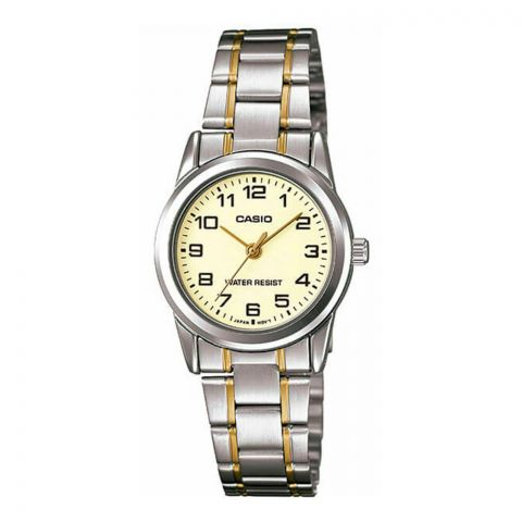 Casio Casual Women's Analog Stainless Steel Watch, Gold Ion Plated Band, LTP-V001SG-9BUDF
