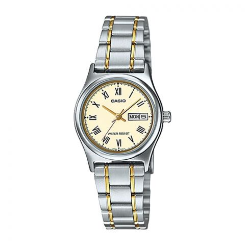 Casio Women's Analog Two-Tone Dress Watch, Stainless Steel Band, LTP-V006SG-9BUDF