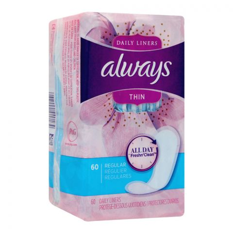 Always Thin Regular Daily Liners, 60-Pack