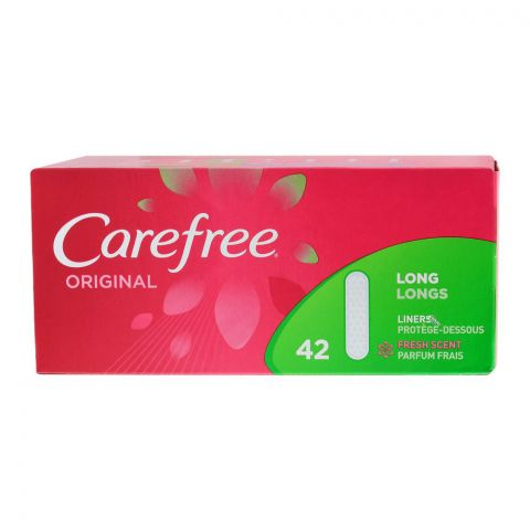 Carefree Original Long Liners, Fresh Scent Pantyliner, 42-Pack