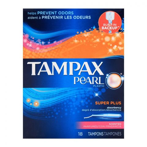 Tampax Pearl Plastic Super Plus Scented Tampons 18-Pack