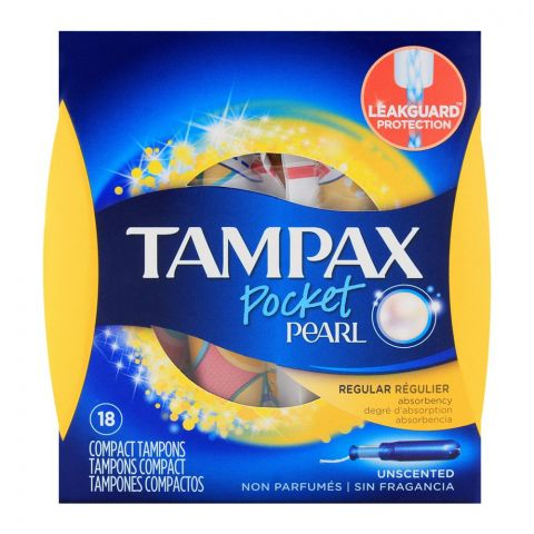 Tampax Pocket Pearl Regular Unscented Compact Tampons 18-Pack