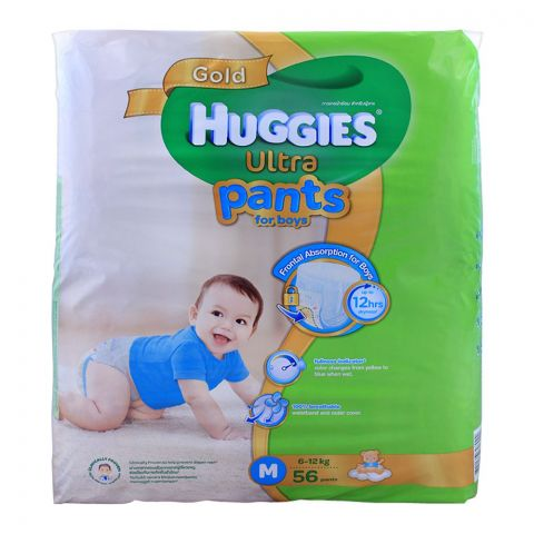 Huggies Ultra Pants For Boys, Medium 6-12 KG, 56-Pack