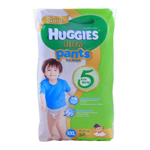 Huggies Ultra Pants For Boys, XXL 12-25 KG, 32-Pack
