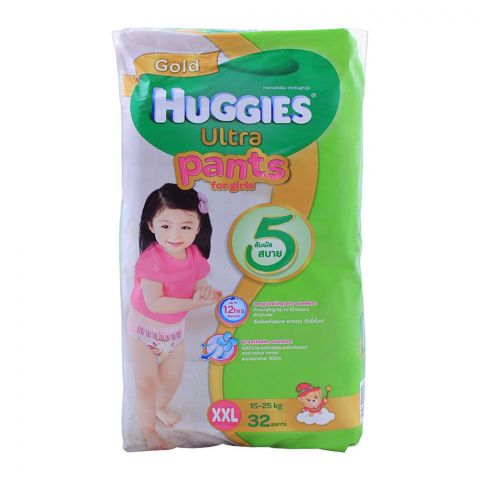 Huggies Ultra Pants For Girls, XXL 15-25 KG, 32-Pack
