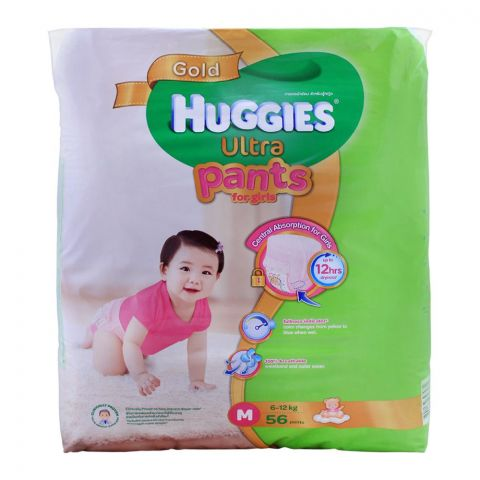 Huggies Ultra Pants For Girls, Medium 6-12 KG, 56-Pack