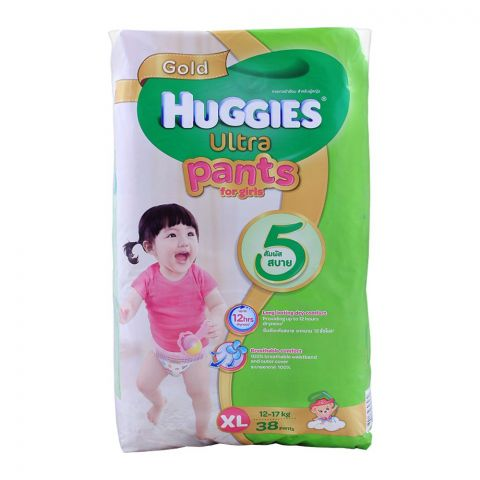 Huggies Ultra Pants For Girls, XL 12-17 KG, 38-Pack