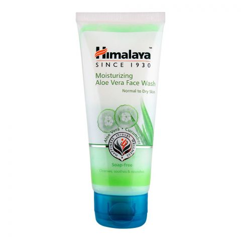 Himalaya Moisturizing Aloe Vera Face Wash, Soap Free, Normal To Dry Skin, 50ml