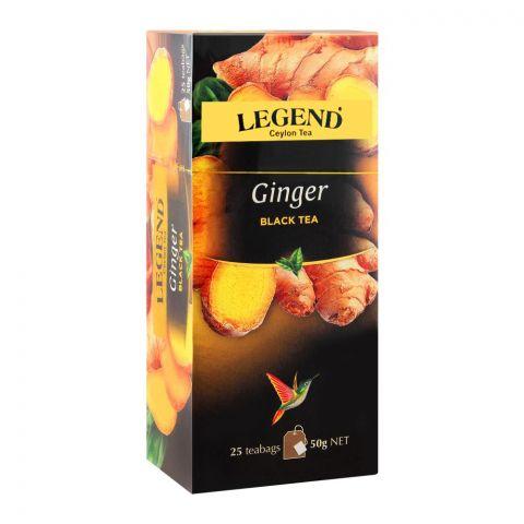 Legend Ceylon Tea Black Ginger Tea Bags, 25-Pack