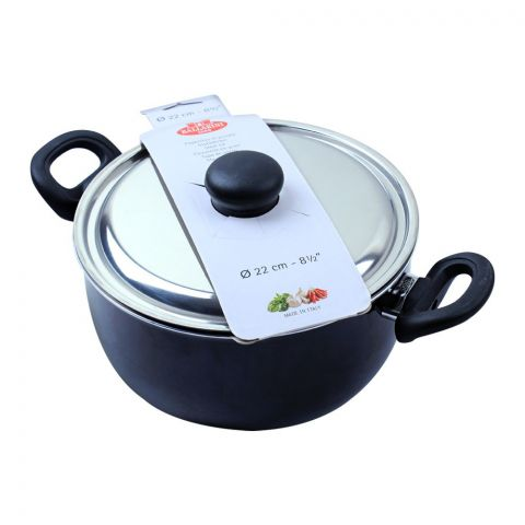 Ballarini Casserole Non-Stick Sauce Pan With Steel Lid, 22cm, 8.5 Inches