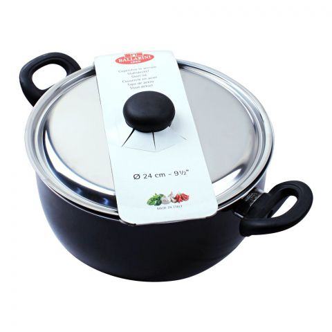 Ballarini Casserole Non-Stick Sauce Pan With Steel Lid, 24cm, 9.5 Inches