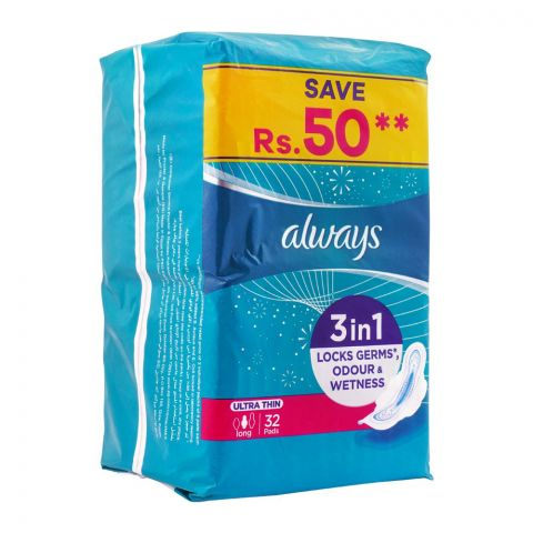 Always Ultra Thin No Stain Long Pads, 32-Pack