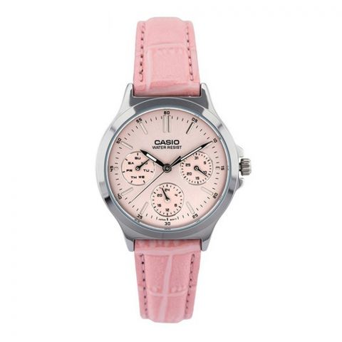 Casio Enticer Women's Multi-Function Analog Watch, Pink Imitation Leather Band, LTP-V300L-4AUDF
