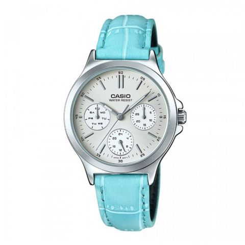 Casio Women's Analog Multi-Hands Dress Watch, Blue Leather Band, LTP-V300L-2AUDF