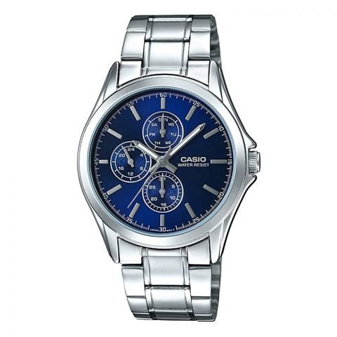 Casio Men's Analog Multi Hands Stainless Steel Blue Dial Watch, MTP-V302D-2AUDF