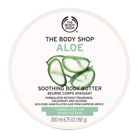 The Body Shop Aloe Soothing Body Butter, Fragrance/Alcohol Free, Suitable for Sensitive Skin, 200ml