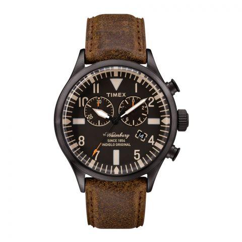 Timex Men's Originals Waterbury Chronograph, Black Dial, Brown Leather - TW2P64800