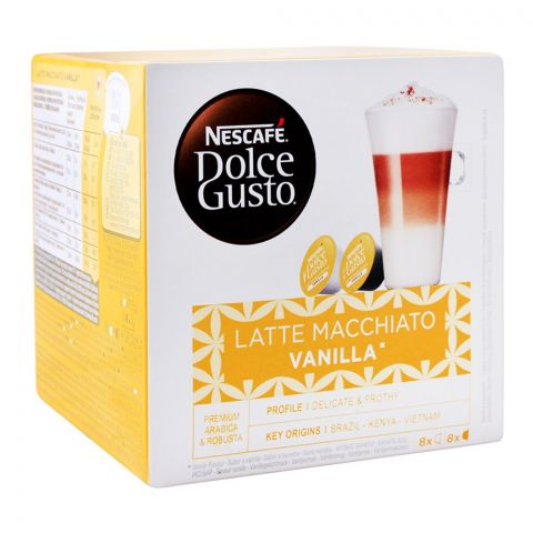 Nescafe Dolce Gusto Latte Macchiato Vanilla Capsules, 8+8 Single Serve Pods