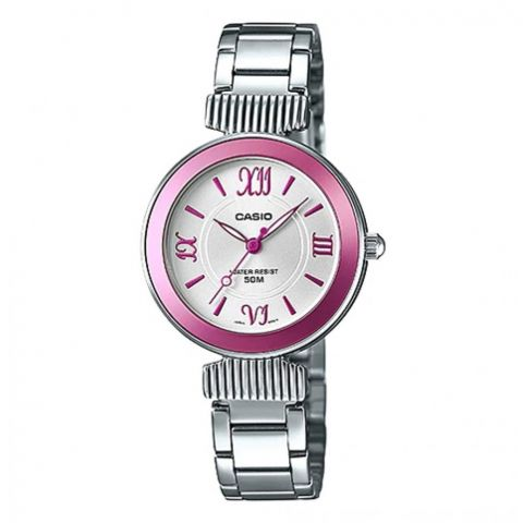 Casio Enticer Analog Pink Dial Stainless Steel Watch, LTP-E405D-4AVDF