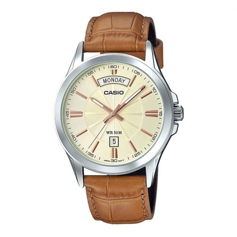 Casio Enticer Men's Analog Gold Dial Watch, Leather Band, MTP-1381L-9AVDF